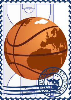 Free Postage Stamp. Basketball Royalty Free Stock Photography - 25321807