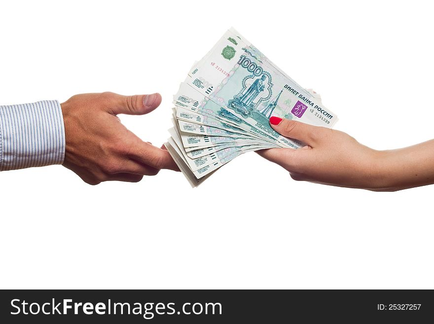 Russian Money Transfer From Hand To