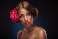 Free Beauty Face Of The Young Woman With Flower Royalty Free Stock Images - 25337359