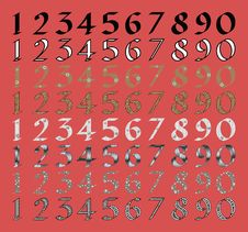 Free Calligraphic Numeral Set With Different Fills Royalty Free Stock Image - 25330646