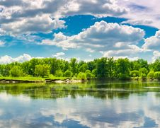 Clouds Reflection On Lake. Stock Images