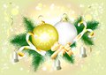 Free Background With Realistic Fir Branch And Baubles Royalty Free Stock Photo - 25340635