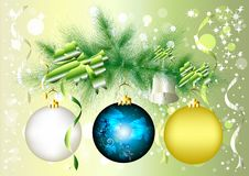 Free Christmas Baubles Hang On Realistic Fur Branch Stock Photos - 25340703