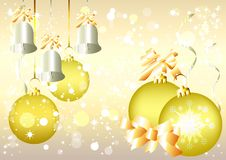 Free Christmas Vector  Background, Silver Bells, Golden Stock Photo - 25340730