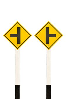Left And Right Junction  Road Signpost Stock Photos
