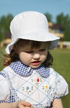 Free Beautiful Little Girl Looks Down Outdoor Royalty Free Stock Image - 25345816