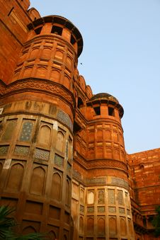 Outside Architecture Of The Red Fort Agra, India Royalty Free Stock Photography