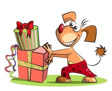Free Dog And Boxes Of Presents,  On White Stock Photo - 25348320