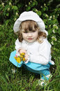 Free Beautiful Little Girl Sits With Yellow Dandelion Royalty Free Stock Photos - 25351068