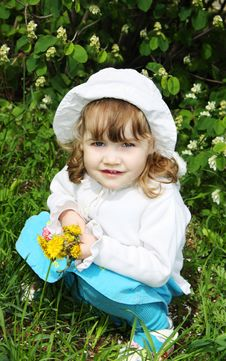Free Beautiful Little Girl Holds Yellow Dandelions Stock Image - 25351081