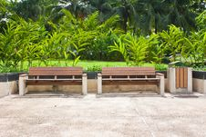 Free Wooden Park Bench With Planter In Summer. Stock Photos - 25353083