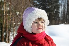 Free Little Sad Girl Stands In Winter Forest Royalty Free Stock Images - 25355589