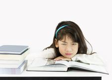 Free Girls Get Tired Of Studying Stock Image - 25358811