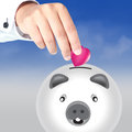 Free Piggy Bank And Pink Heart Stock Photography - 25363762