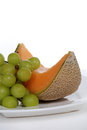Free Cantaloupe And Green Grapes On White Plate Royalty Free Stock Photo - 25366865