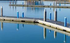 Empty Pier In Winter During Calm Weather Stock Image
