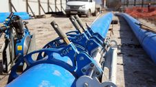 Welding Blue Polythene Pipe Stock Images