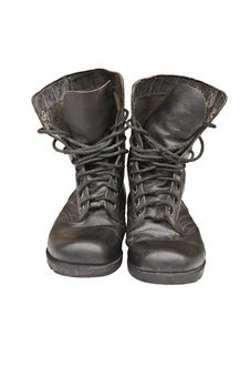 Old Leather Military Boots Stock Photo