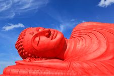 Red Reclining Buddha Stock Photography