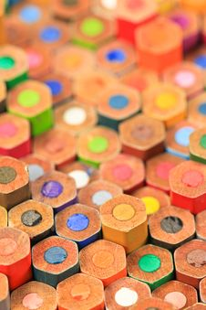Free Stacked Color Pencils Royalty Free Stock Photo - 25371635