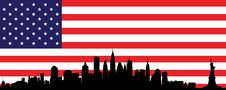 Free New York Skyline And Flag Royalty Free Stock Image - 25371716