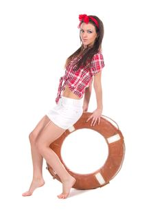 Free Girl Pin Up Style, With A Lifebuoy Stock Photos - 25382313
