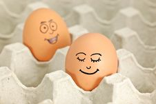 Free Eggs With Faces Royalty Free Stock Photo - 25383185