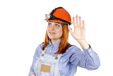 Free Girl Welcomes The Builder Of Hard Hat Stock Photos - 25387933