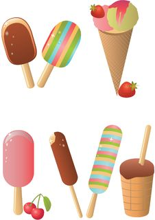 Free Ice Cream Set Royalty Free Stock Images - 25387959