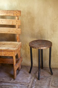Free Table And Chair, Rustic Stock Images - 25389894