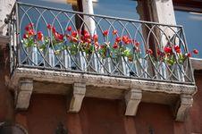 Free Balcony With Tulips Royalty Free Stock Photos - 25392988