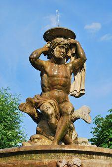 Lions Fountain In Flower Garden In Kromeriz Royalty Free Stock Photo