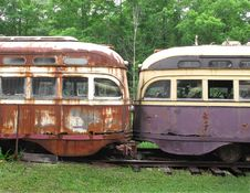 Free Fronts Of Two Old Streetcars Royalty Free Stock Photography - 25395067