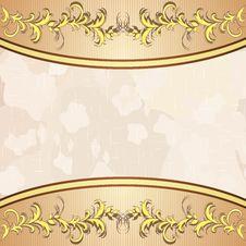 Vintage Background With Golden Floral Decoration Stock Image