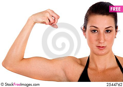 Free Fitness Girl Showing Her Bicep Stock Photography - 2544762