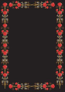 Free Red And Black Floral Frame Royalty Free Stock Images - 2541069