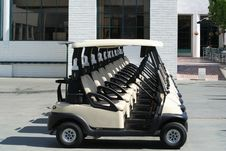 Free Line Of Golf Carts Royalty Free Stock Photography - 2542117