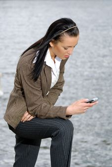 Businesswoman Reading SMS Stock Photos