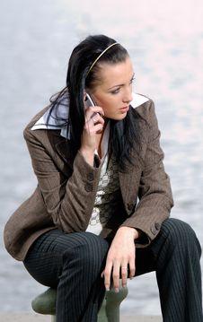 Free Woman Talking Through Mobile Stock Image - 2546401