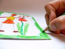 Free The Boy Is Drawing A Wish Stock Images - 2546464
