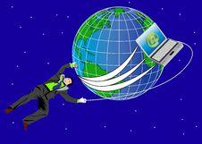 Free Businessman And World Stock Image - 2549751