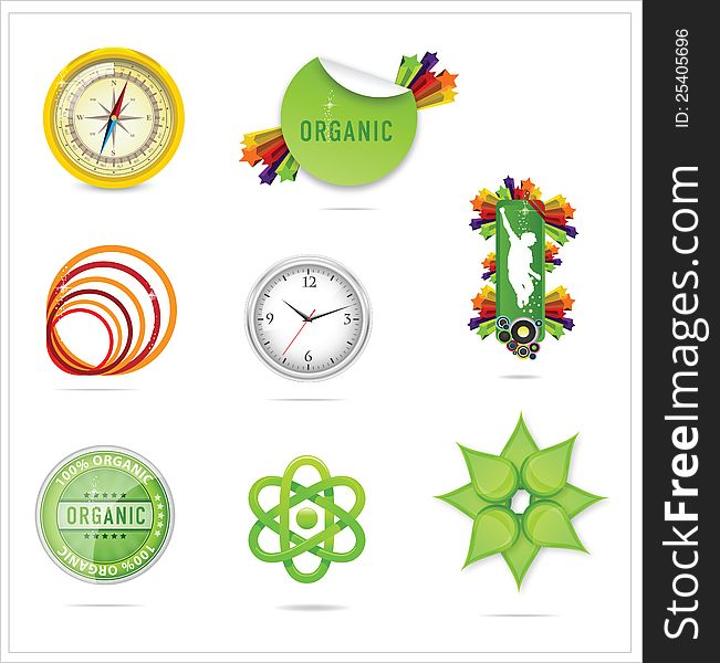 Nature creative ecology symbols set