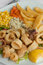 Free Fried Calamari With Vegetables Stock Photography - 25408672