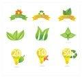 Free Green Eco Leafs And Symbols Set Stock Photo - 25416130
