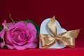 Free Heart Shaped Gift Box With  Pink Rose Royalty Free Stock Photography - 25419867