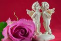 Free Angels Kissing And Pink Rose Stock Images - 25419944