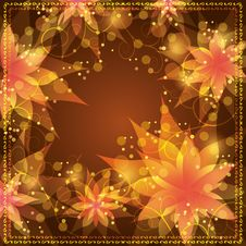 Free Floral Background With Decorative Golden Ornament Stock Image - 25410221