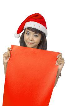 Free Santa Lady Hold Banner Royalty Free Stock Image - 25411446