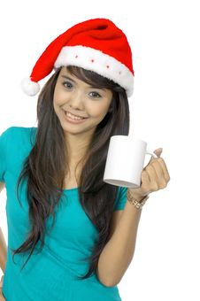 Free Santa Woman Drinking Stock Images - 25411454