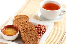 Tea With Bread, Flavored With Honey And Nuts Stock Images